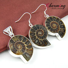 Women Natural Handmade Ammonite Fossil Gems Silver Pendant Earrings Set