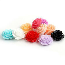 15/30pcs MIX Resin Rose Flower Flatback Appliques For Phone Wedding Craft 18mm
