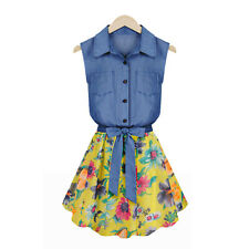Women's Summer Sleeveless Chiffon Sundress Floral Denim Dress with Bow Belt M-XL