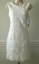 $148 Calvin Klein Sleeveless Ivory Lace Dress, Size-8
