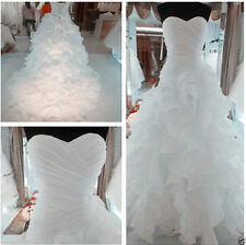 2015 New White/Ivory Organza Wedding Dress Bridal Gown Stock Size 6-16