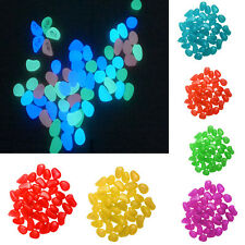 Sale 100pcs Glow In The Dark Stones Colorful Pebbles Rock For Fish Tank Aquarium