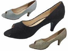 Ladies No Shoes  Black Gold Silver Peep Toe Glitter Pump Heels Court Shoe 6-11