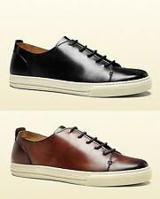 New Authentic Gucci Men Leather Lace-up Sneaker w/Hysteria Crest, 342037