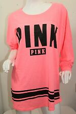 Victorias Secret Pink Open Back Varsity Crew T-Shirt Oversize Tunic NWT Pink