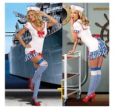 WOMENS Cute SEXY SEA NAVY MILITARY SAILOR CAPTAIN COSTUME Halloween FANCY DRESS