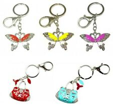 Yellow Pink Red Butterfly Crystal Charm Key Ring Hand Bag Charm Chain Keyring