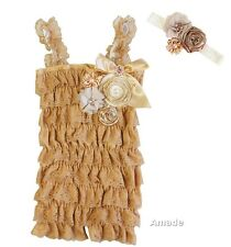 Baby Pearl Crystal Toasted Almond Gold Lace Petti Rompers Headband 2pcs Set