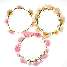 Beautiful Chic Flower Bun Garland Floral Head Knot Hair Top Scrunchie Band - LD