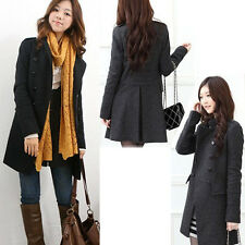 Chic Hot Womens Winter Warm Double-Breasted Slim Trench Coat Jacket