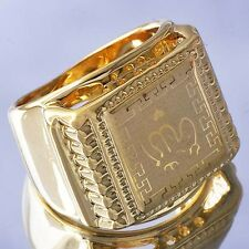 Cool Yellow Gold Filled Arab Style Men's Ring Size 12  D6175