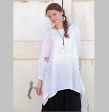 YEA Light Linen BRIA TUNIC Flared Apron Smock Adjustable Sleeve Top 2X 3X WHITE