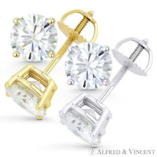 Forever Brilliant 3.00 ct Round Cut Moissanite 14k Gold Screwback Stud Earrings