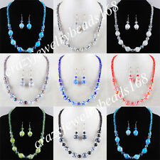 Jewelry Crystal Lampwork Glass Round Beads Necklace Earrings SET BM075