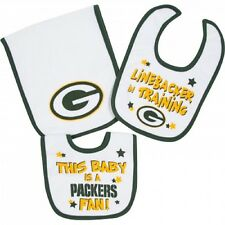 Gerber Green Bay Packers 2 Baby Bibs & 1 Burp Cloth Set - FREE SHIPPING