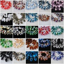 10Pcs 10x20mm Teardrop Charm Faceted Pendant Glass Crystal Loose Beads Findings