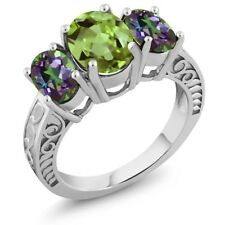3.40 Ct Oval Green Peridot Green Mystic Topaz 925 Sterling Silver Ring