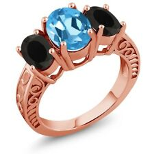 3.40 Ct Oval Swiss Blue Topaz Black Onyx 18K Rose Gold Plated Silver Ring
