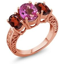 3.90 Ct Oval Pink Mystic Topaz Red Garnet 925 Rose Gold Plated Silver Ring