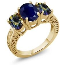 4.10 Ct Oval Blue Sapphire Blue Mystic Topaz 18K Yellow Gold Plated Silver Ring