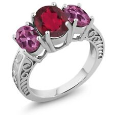 4.00 Ct Oval Red Mystic Quartz Pink Tourmaline 925 Sterling Silver Ring