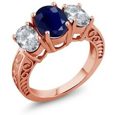 4.40 Ct Oval Blue Sapphire White Topaz 18K Rose Gold Plated Silver Ring