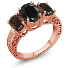 4.04 Ct Oval Black Sapphire Brown Smoky Quartz 18K Rose Gold Plated Silver Ring