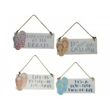 1pce 18cm Flip Flop / Thong MDF Sign Hanging on Rope