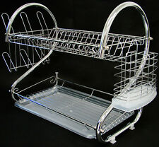 2 Tiers Dish Drying Rack Drainer Dryer With Tray Kitchen Storage Solid Chrome