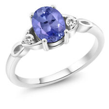 1.20 Ct Oval Blue Tanzanite White Sapphire 925 Sterling Silver Ring
