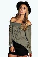 Boohoos Womens Liz Shirred Off The Shoulder Top