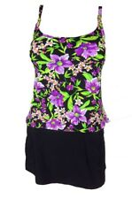 Island Escape Add a Size Tankini Floral Swimsuit Swim Skirt Bathing Suit Sz 8 10