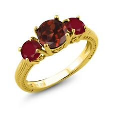 2.40 Ct Round Red Garnet Red Ruby 18K Yellow Gold Plated Silver Ring
