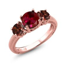 2.65 Ct Round Red Created Ruby Red Garnet 18K Rose Gold Plated Silver Ring