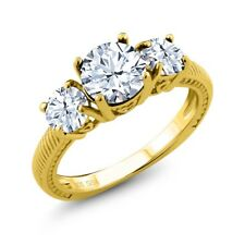 2.40 Ct Round White Topaz 18K Yellow Gold Plated Silver Ring