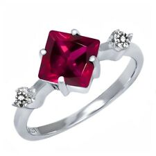 1.84 Ct Princess Red Created Ruby White Diamond 925 Sterling Silver Ring