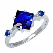 2.36 Ct Princess Blue Simulated Sapphire Blue Sapphire 925 Sterling Silver Ring