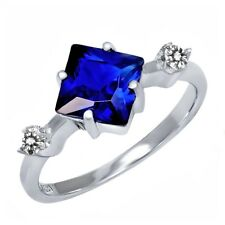 2.33 Ct Princess Blue Simulated Sapphire White Diamond 925 Sterling Silver Ring