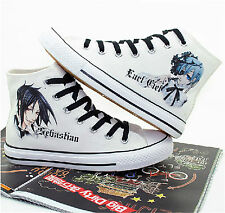 Kuroshitsuji Hand Painted Cosplay Canvas Shoes Black Butler Ceil White Sneakers