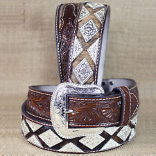 WESTERN NOCONA LEATHER MENS BELT HAIR DIAMOND CONCHOS DARK BROWN 32-46 INCHES