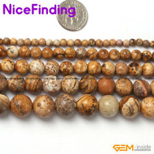 Natural Picture Jasper Round Stone Beads For Jewelry Making Gemstone Strand 15""