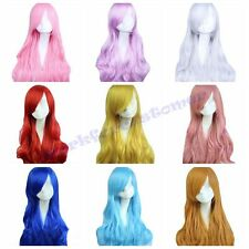 New Fashion Women Long Curly Wavy Multi-Colour Wig Dress Party Anime Cosplay Wig