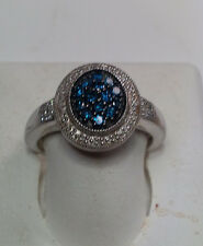.50cttw Blue & White Diamond Oval Fashion Sterling Silver Ring #457