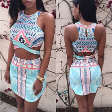 Summer Ladies Womens Two Piece Crop Top and Skirt Set Sexy Bandage Bodycon Dress