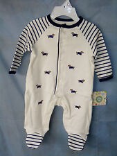 LITTLE ME 100% Cotton Off White Footie with Appliqued Little Dogs BOY NWT
