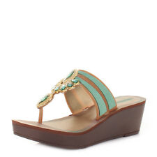 WOMENS GRENDHA MAGIA TURQUOISE WEDGE GEM LADIES SANDALS SIZE 3-8