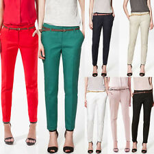 Women OL Girls Casual Candy Color Skinny Belted Pencil Pants Fashion Trousers US