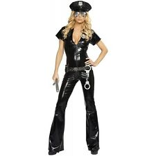 Sexy Cop Costume Adult Police Woman Female Officer Halloween Fancy Dress