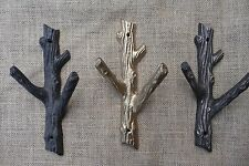 Rustic Tree Branch Wall Hook - Home Decor - Cast Iron Metal Gold Coat Towel Rack