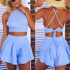 Ladies Women Summer Bandage Sexy Two Pieces Set Dress Outfit Bustier Tops+Pants
